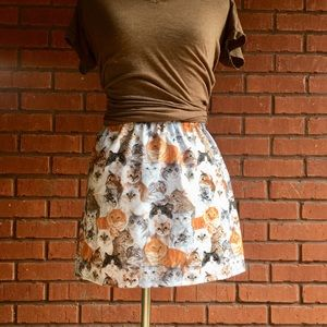 NWT Custom made cat print mini skirt size XS